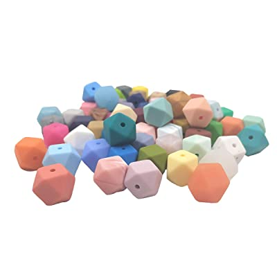 50pcs 14mm Silicone Hexagon Beads BPA Free Baby Teething Beads Food Grade Silicone Teether Chew Necklace Bangle Shower Gifts (Mix Color): Arts, Crafts & Sewing