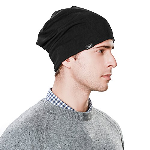 Black Beanie Cap Reversible (Siggi Slouchy Beanie Hat For Guys Men Women Night Sleep Cap Cancer Chemo Patient Hats Winter Spring Soft Reversible Black)