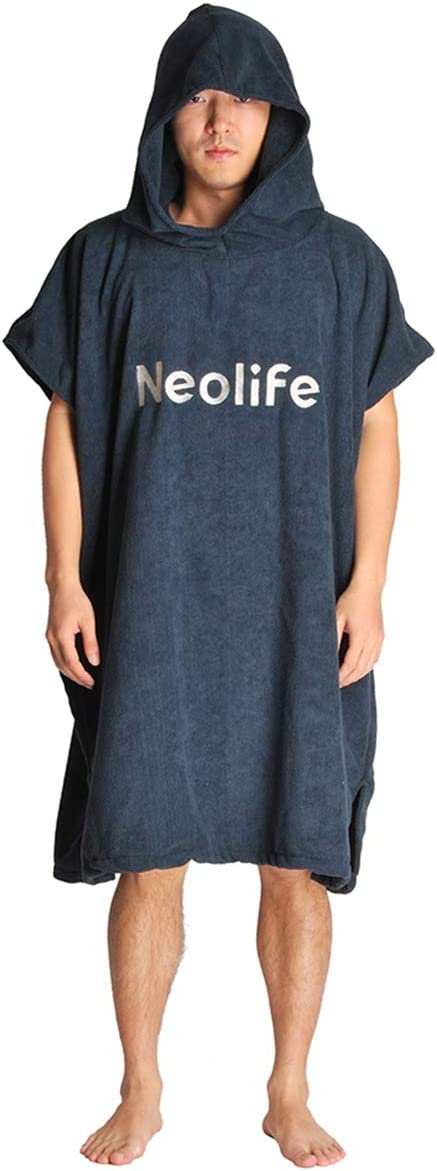 Neolife Surf Poncho Changing Robe with Hood, Thick Quick Dry Microfiber Wetsuit Changing Towel for Surfing Beach Swim (Navy)