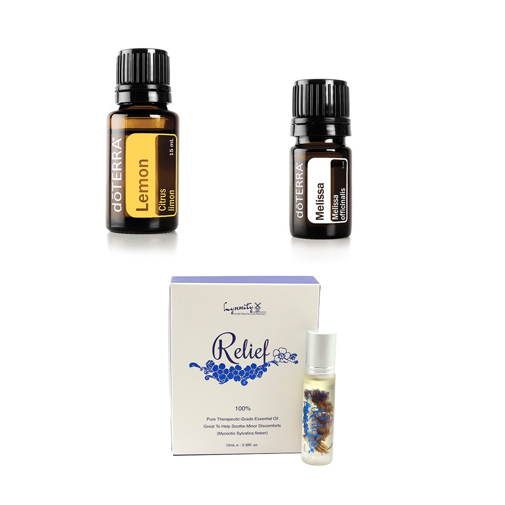 doTERRA Essential Oil Value Set (3 in 1) - Melissa 5ml + Lemon 15ml + Lynnity Relief Panaway Roll On Essential Oil 10ml
