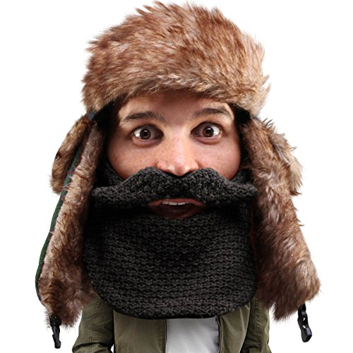Beard Head Classic Trapper Beard Hat - Faux Fur with Ear Flaps and Beard Facemask Black