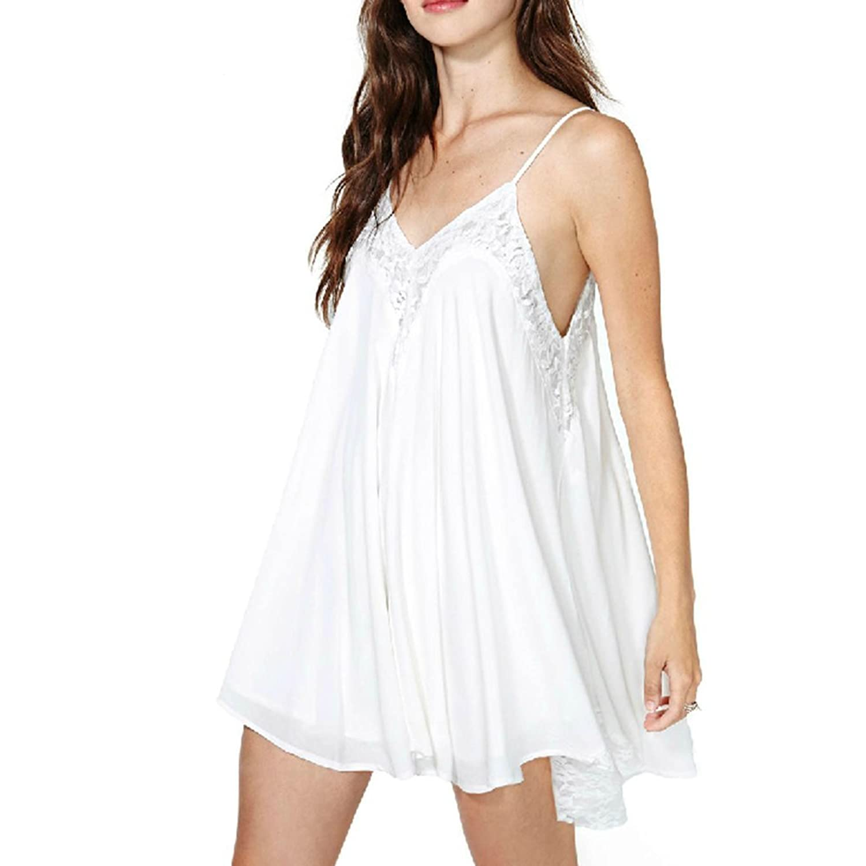 Maxquoia Damen Strandkleid Freizeit Kleid Weiß Trägerkleid ...