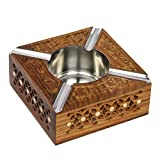 Icrafts India Aheli Wooden Hand Carved Outdoor Ash Trays for Cigarette with Steel Bowl Decorative Ashtray Holder for Bar Home Office Living Room