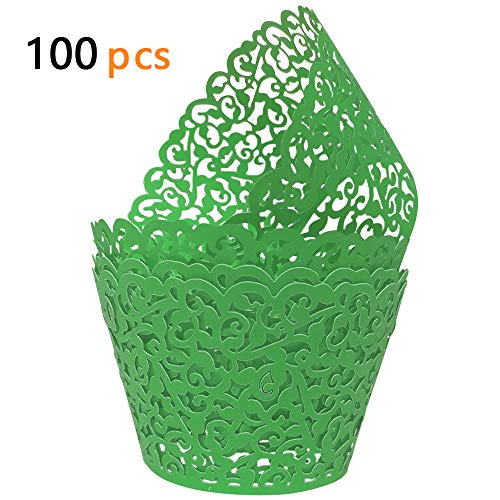GOLF 100Pcs Cupcake Wrappers | Artistic Bake Cake Paper Filigree Little Vine Lace Laser Cut Liner Baking Cup Wraps Muffin CaseTrays for Wedding Party Birthday Decoration (Green) -