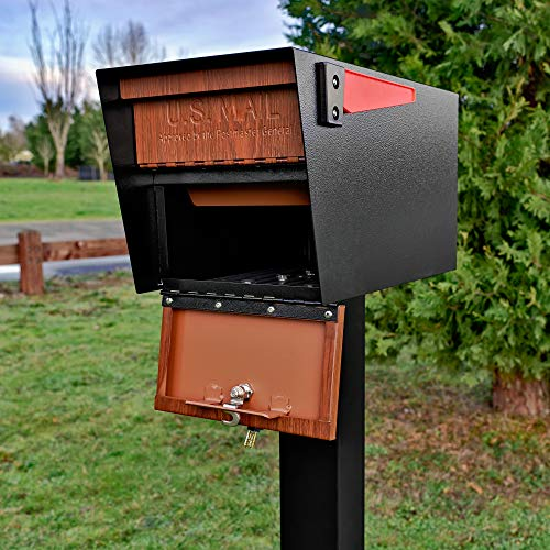 Mail Boss Curbside 7510 Mail Manager Locking Security Mailbox, Wood Grain, Black Powder Coat by Mail Boss (Image #3)