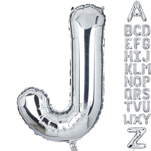 40 Inch Large Letter J Foil Balloons Silver Big Alphabet Mylar Helium Balloon for Birthday Party Decoration Supplies Wedding Decor Girls Custom Word HH(Sliver-J)