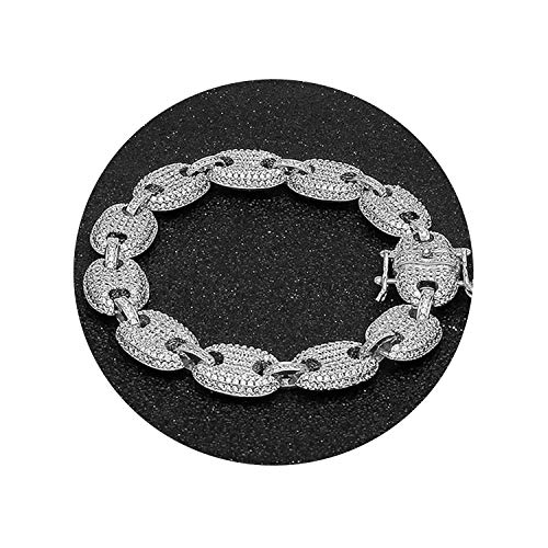 (Minusone Coffee Beans Bracelet Puffed Marine Chain 13mm Hip Hop Link Fashion Punk Choker Charms Jewelry,Silver,7inch)