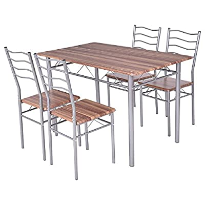 Tangkula 5 Pcs Dining Table Set Home Kitchen Wood Metal Modern Furniture Dining Table and Chairs Set - 【Modern Design】This stylish dining table set includes 1 table and 4 chairs, which is perfect for your dining room, kitchen, restaurant, and any other dining area. 【Sturdy & Durable】Constructed with sturdy premium steel, kitchen table set will last for more years to use. 【Comfortable Chairs】With high back design, these armless chairs are more comfortable for you and your guests to enjoy the meal. - kitchen-dining-room-furniture, kitchen-dining-room, dining-sets - 51oe%2BIAU6DL. SS400  -
