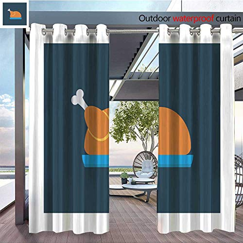 (BlountDecor Outdoor Privacy Curtain for Pergola Web Thermal Insulated Water Repellent Drape for Balcony W84 x L96/Pair)