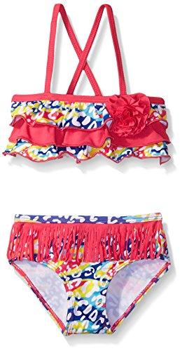 Pink Platinum Girls' Bikini Swimsuit with Fringe