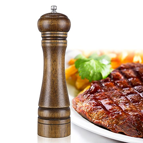 Wood Pepper Mill, 8-inch High Salt and Pepper Grinder,Salt and Pepper Shakers by ZOYA (Image #5)