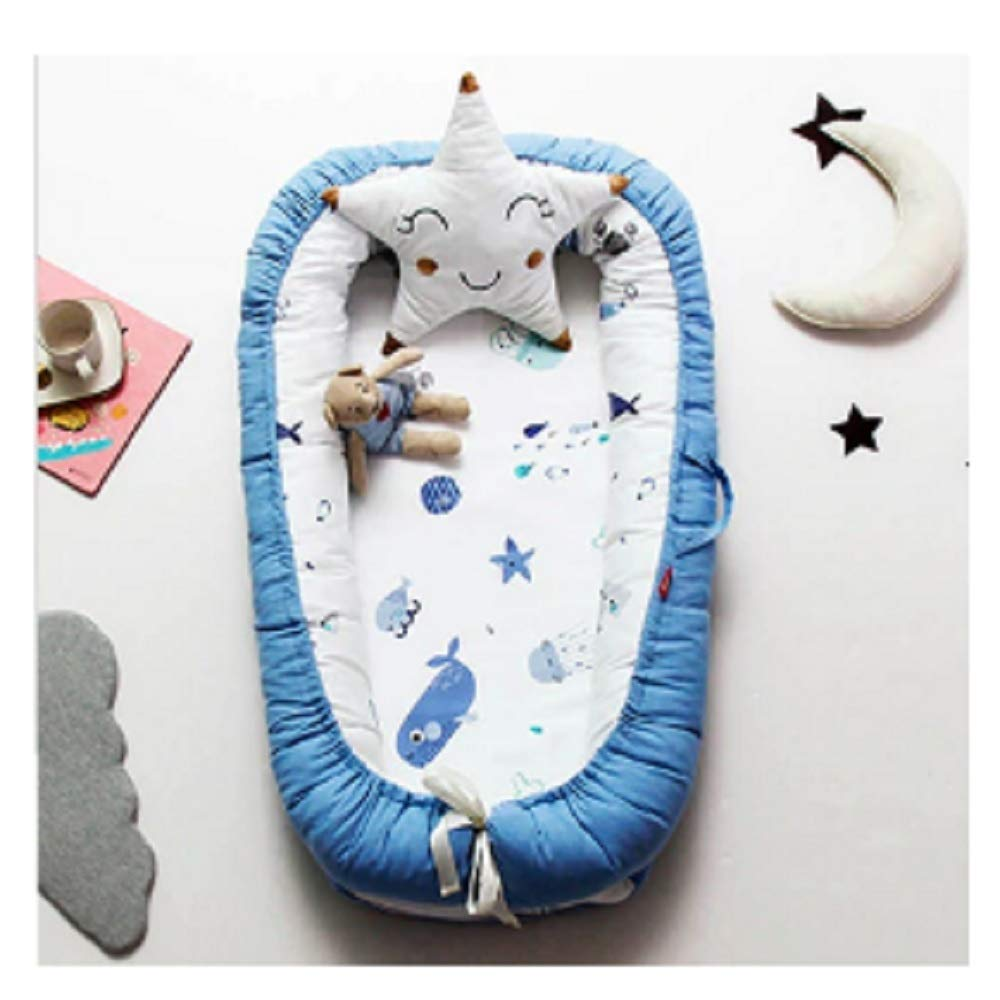 Baby Nest Bed Travel Crib Baby Bed Infant CO Sleeping Cotton Cradle Portable Snuggle 9055cm Newborn Baby Bassinet BB Artifact - Blue sea by Hwealth