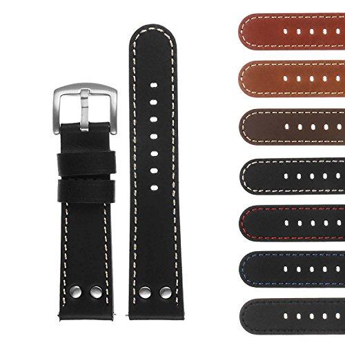 - DASSARI Pilot Quick Release Leather Watch Band Strap w/Rivets 18mm 20mm 22mm 24mm