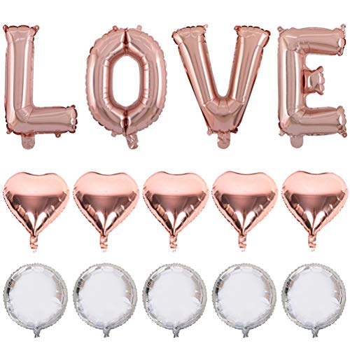 (40 in Big Love Shape Mylar Letter Balloons Kit Rose Gold for Wedding Bridal Shower Anniversary Party Decoration by IN-JOOYAA (Rose Gold, 14 Pcs))