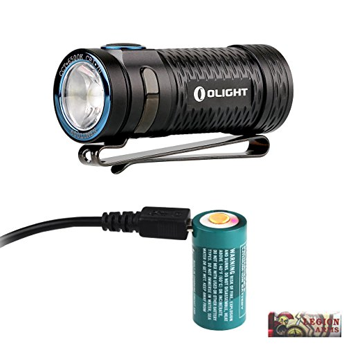 Olight S1 mini Baton 600 Lumen Ultra Compact LED Flashlight with 650mAh RCR123A Rechargeable battery, Micro USB charging cable and LegionArms sticker