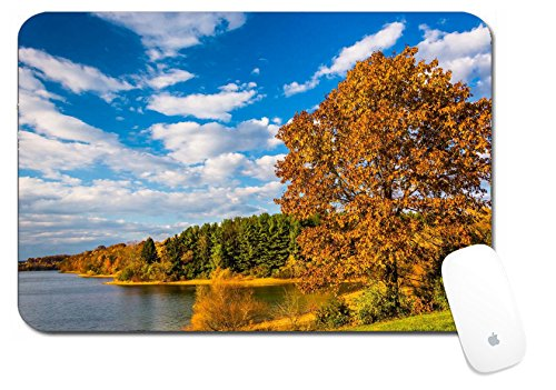 Luxlady Large Mouse Pad Xl Extended Non Slip Rubber Extra Large Desk Mat 18X12 Inch Image Id  25228020 Autumn Tree And View Of Lake Marburg At Codorus State Park Pennsylvania