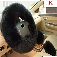 Lookatool Plush Warm Steering Wheel Cover Woolen Handbrake Car Accessory Auto Fur (K)