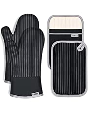 CUSIRA Oven Mitts and Pot Holders, Extra Long Silicone Oven Gloves, 500 F Heat Resistant Oven Mitts Sets, Non-Slip Silicone Textured Grip, Flexibility of Pure Cotton and Terrycloth Lining, Black