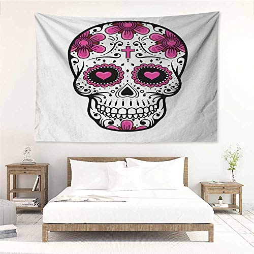 alisos Sugar Skull,Wall Decor Tapestry Flowers and Hearts Swirls Cruciform Gothic Cultural Celebration Day 91W x 60L Inch Tapestry Wallpaper Home Decor Hot Pink Black White