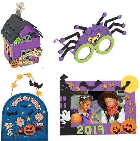 Cute Halloween Diy Crafts (Halloween Craft Kit DIY | 3D Haunted House, Dated Picture Frame Magnet, Snoopy Trick or Treat Door Sign, & Children Spider Glasses | Kids Boys & Girls Family Holiday Activities)