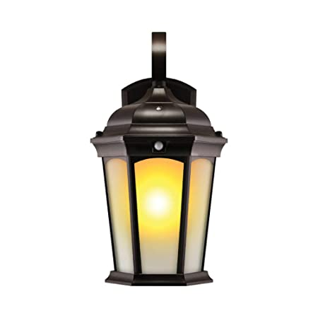 Euri Lighting EFL-130F-MD Flickering Flame Lantern, Frosted Glass, with Integrated Security Light 3000K , Photocell and Motion-Sensor Dusk-to-Dawn , Oil Rubbed Bronze Housing