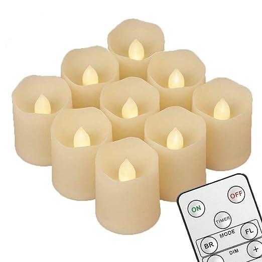 9 Velas LED de Té con Luz (con Mando a Distancia, 120 Horas de Iluminación) para Navidades, Cumpleaños, Bodas, Fiestas Condecoraciones