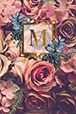 M: Nifty Initial Monogram Letter M College Ruled Notebook. Cute Personalized Medium Lined Journal & Diary for Writing & Note Taking for Girls and Women - Gold Red Roses Floral Print