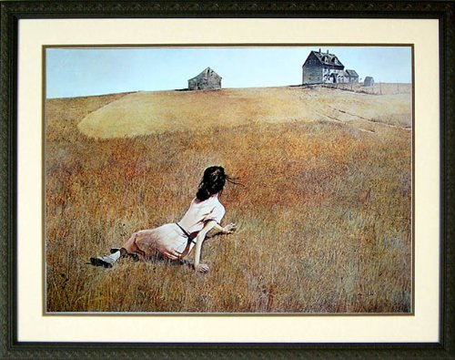 Christina's World By Andrew Wyeth Painting Girl on Field Framed Art Print 32x22 by