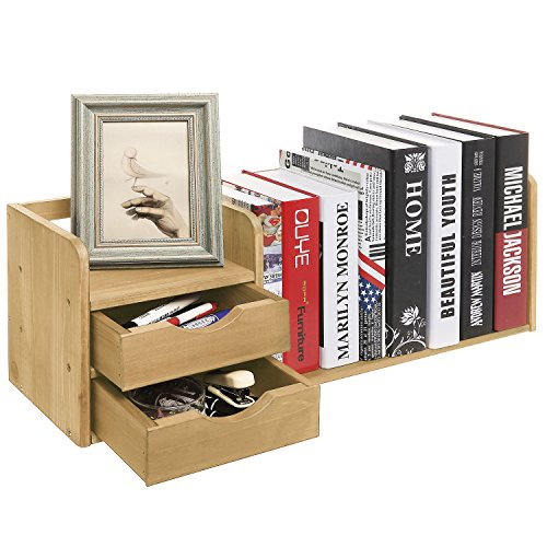 Natural Organizer Drawers Bookshelf Display