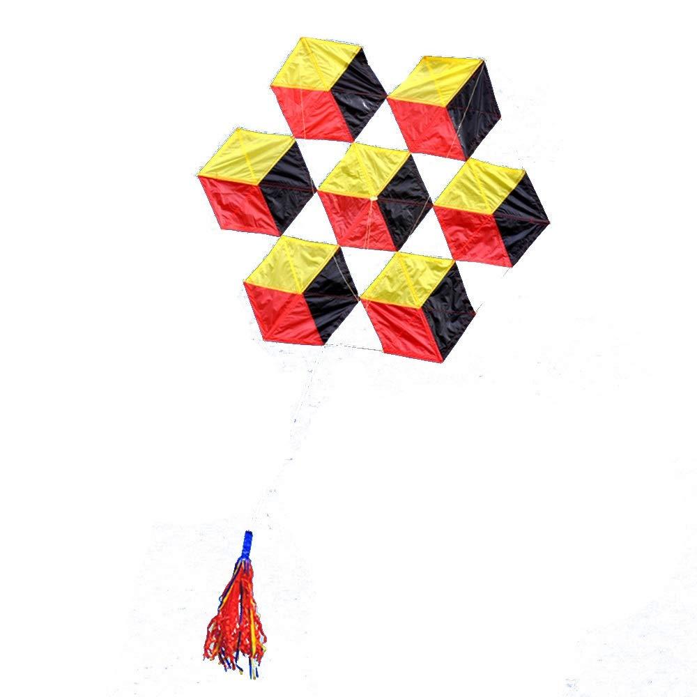 柔らかい傘布6面ルービックキューブ大きな大人の凧、飛ぶのは簡単風(リール付き) (色 : A) B07R1Y2K7L A