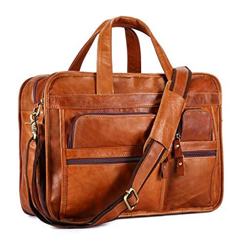 (BAIGIO Men's Vintage Genuine Leather Briefcase 15.6 Inch Laptop Messenger Bag Business Tote (Tan))