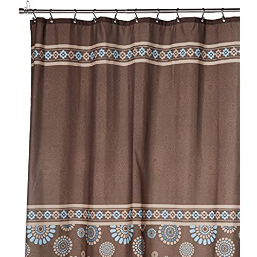 Uphome 72 X 78 Inch Cool Circle Floral Pattern Coffee,Brown U0026 Blue Kids  Bathroom Shower Curtain   Waterproof And Mildewproof Chocolate Polyester  Fabric ...