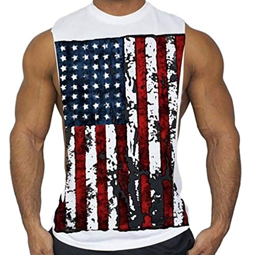 (WKDYBD Mens Tank Tops Undershirts, American Flag Muscle Workout T-Shirt Bodybuilding Tank Top Casual Tees Shirts White)