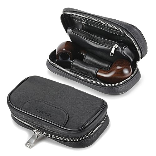 Soft Genuine Leather pipe tobacco pouch case with 2 pipe holder pocket (Black) by ONLVAN