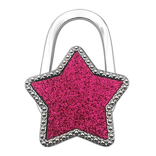 JewelBeauty Purse Hook Bling Bling Shining Twinkle Twinkle Little Star Foldable Handbag Purse Hanger Hook Holder for Tables (Rose)