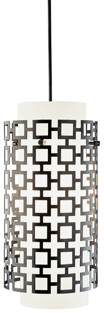 Robert Abbey Z663 Jonathan Adler Parker - One Light Pendant, Deep Patina Bronze over Metal Finish-Frosted White Cased Glass Perforated Metal Outer Shade