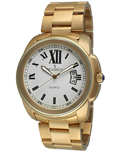 Peugeot Mens 14K Gold Plated Stainless Steel Roman Numeral Luxury Watch