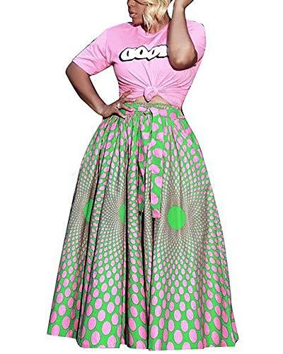 Women's A-Line Colorful Pleated Skirts Vintage Elastic Waist Floral Midi Skirts Boho Long Maxi Skirt