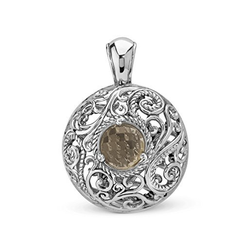 Carolyn Pollack Smoky Quartz Mediallion Pendant Enhancer by Carolyn Pollack