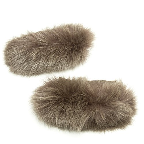 'S Max Mara Women's Susanna Fox Fur Cube Collection Cuffs One Size Turtledove by MaxMara