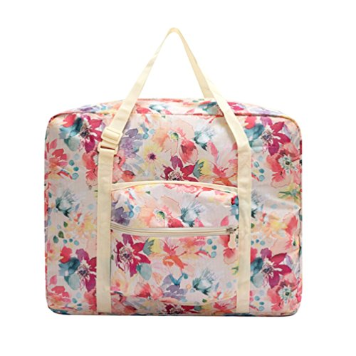 Ac.y.c Travel Duffel Bag for Women Foldable Floral Print Carry On Express Weekender Organizer For Gym Sports (White Floral)