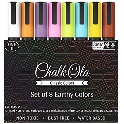 - Fine Tip Chalkboard Chalk Markers - Pack of 8 Classic Earth Colors | Non Toxic Wet Erase Liquid Chalk Ink Pens | 3mm Reversible Bullet & Chisel Nib