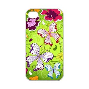 Custom Colorful Butterfly Pattern Case for iPhone 4,4S 100% TPU (Laser Technology)