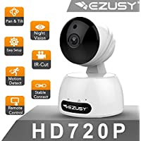 EZUSY 720p Wireless Security HD WiFi Security Surveillance IP Camera Home Monitor with Motion Detection Two-Way Audio Night Vision (White-720p)
