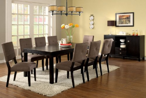 9 Pc. Bay Side I contemporary style espresso finish wood with fabric upholstered chairs