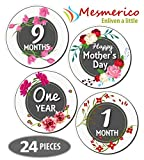 NEW! Mesmerico 24 Baby Monthly Holiday Stickers - Baby Girl First Year Month Age Growth Milestones - Month Stickers for Baby - Onesie Belly Stickers - Unique Baby Shower Newborn Gifts