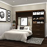 """Bestar Pur 95"""" Full Wall Bed with 3 Drawer Storage Unit Chocolate"""