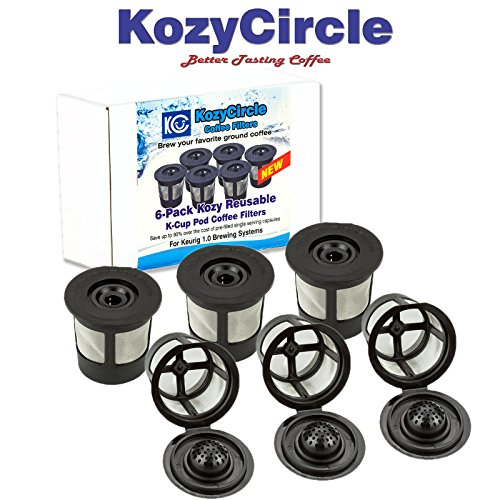 6-Pack Reusable Refillable Single K-cup Compatible with Keurig 1.0 Brewers - KozyCircle Coffee Replacement Mesh Filter Pods with Lids - Perfect Gift for Coffee Lovers