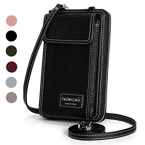 (Women Purse Leather Cellphone Holster Wallet Case Mini Small Crossbody Shoulder Bag Messenger Pouch Ladies Handbag Clutch Phone Pockets for iPhone 8 Plus Xs Max X Xr 7/6 Plus Samsung S10+ (Black))