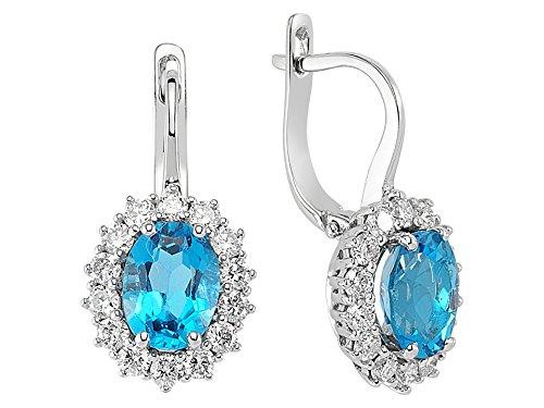 Birgie Diamants et Bijoux -Boucles d'Oreilles Topaze Ovale Bleue et Diamants-Femme- or Blanc 204E0052